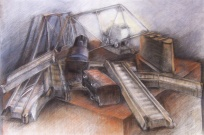 """Derailed"", Adriana Burgos 2010, Charcoal and pastel on paper 38.5"" x 29"""