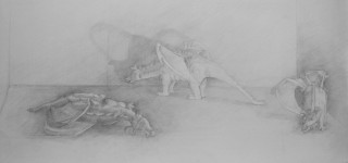 """Dragons"", Adriana Burgos, silverpoint on prepared paper, 21.75"" x 9.5"""
